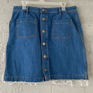 LOFT Raw Edge Denim Skirt